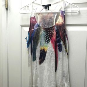 Colorful feathers tank top